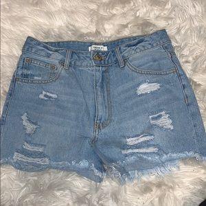 Light wash denim cut off shorts
